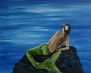 Mermaid Print On Canvas Framed Prints -  A Magical Mermaid Framed Print by Leslie Allen