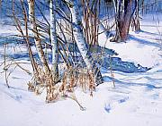 Snowscape Painting Metal Prints -  A Snowy Knoll Metal Print by June Conte  Pryor