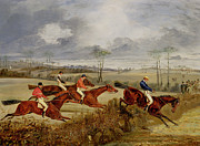 Horse Jumping Paintings -  A Steeplechase - Near the Finish by Henry Thomas Alken