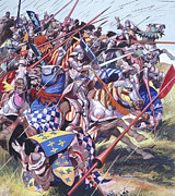 Victory Painting Acrylic Prints -  Agincourt The Impossible Victory 25 October 1415 Acrylic Print by Ron Embleton