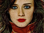 Celebrity Greeting Cards Mixed Media -  Alexis Bledel Portrait by Andre Drauflos