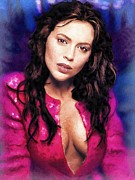Actress Posters Mixed Media -  Alyssa Milano portrait D by Andre Drauflos