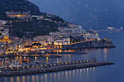 Mediterranean Landscape Art -  Amalfi at Night by George Oze
