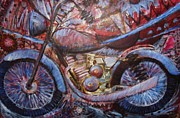 Red White And Blue Drawings -  American Motorcycle Ride by    Armand  Storace