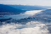 Lions Gate Bridge Prints -  An Aerial View Of Vancouver Print by Taylor S. Kennedy