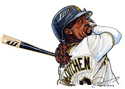 National League Drawings Metal Prints -  Andrew Mccutchen Metal Print by Dave Olsen