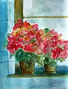Geranium Paintings -  Another Windowsill of Geraniums by Julie Lueders
