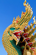 Buddhism Sculpture Prints -  Asian temple dragon   Print by Panyanon Hankhampa