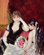 Red Bouquet Paintings -  At the Concert by Pierre Auguste Renoir