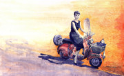 Watercolour Paintings -  Audrey Hepburn and Vespa in Roma Holidey  by Yuriy  Shevchuk