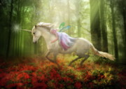 Unicorn Posters -  Autumns Flight Poster by Trudi Simmonds
