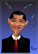 Barack Obama Digital Art Posters -  Barack Obama The President of the United States of America Poster by Remy Francis