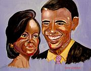 Michelle Obama Painting Prints -  Barak and Michelle Obama   The Power of Love Print by Rusty Woodward Gladdish