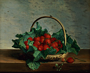 Objects Paintings -  Basket of Strawberries by Johan Laurents Jensen