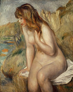 Towels Prints -  Bather seated on a rock Print by Pierre Auguste Renoir