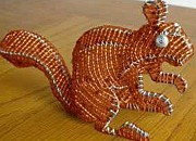 Autumn Sculpture Originals -  Beaded Squirrel by Jackie Hardy