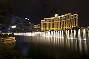 Fountain Scene Framed Prints -  Bellagio Fountain in Las Vegas at night Framed Print by Sven Brogren