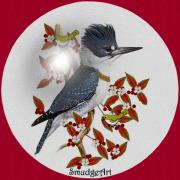 Aves Digital Art -   Belted Kingfisher by Madeline  Allen - SmudgeArt