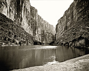 Black And White Prints Prints -  Big Bend National Park and Rio Grand River Print by M K  Miller