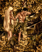 Adam And Eve Framed Prints -  Birth of Sin Framed Print by Lourry Legarde