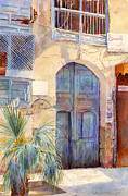 Watercolour Canvas Paintings -  Blue Door  by Dorothy Boyer