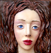 Female Sculpture Metal Prints -  Blue-eyed Girl Metal Print by Yelena Rubin