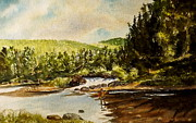Fly Fisherman Paintings -  Blue Mountain Fly Fisherman by Harding Bush