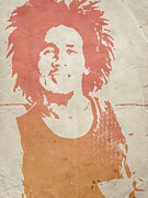 Rock Music Paintings -  Bob Marley Brown by Irina  March