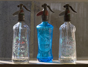 Turquoise Glass Art Metal Prints -  Bottle of water Metal Print by Odon Czintos