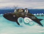 Cape Cod Lighthouse Paintings -  Bourne-A Whale of a Town  by Theresa LaBrecque