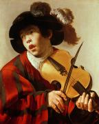Violin Paintings -  Boy Playing Stringed Instrument and Singing by Hendrick Ter Brugghen