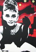Hepburn Framed Prints - - Breakfast at Tiffannys -  Framed Print by Luis Ludzska