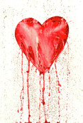 Cherish Prints -  Broken Heart - Bleeding Heart Print by Michal Boubin