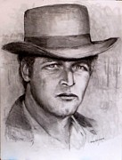 Cowboy Pencil Drawing Prints -  Butch Cassidy Print by Jack Skinner