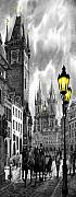 Cityscape Digital Art Prints -  BW Prague Old Town Squere Print by Yuriy  Shevchuk