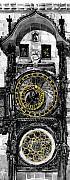 Bw Prague The Horologue At Oldtownhall Print by Yuriy  Shevchuk
