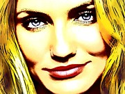 Celebrity Posters Mixed Media -  Cameron Diaz pop portrait by Andre Drauflos