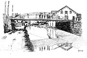 Crossing Drawings Posters -  Canal Ellenville Poster by Monica Cohen