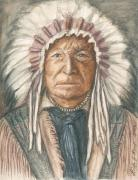 Native Chief Drawings -  Chief Sitting Bear by Linda Nielsen
