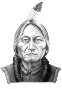 Pencil Drawing Drawings -  Chief Sitting Bull by Murphy Elliott