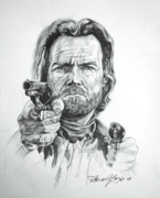 Outlaw Drawings -  Clint Eastwood Josey Wales by Thomas Hoyle