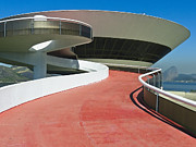 Curving Lines Framed Prints -  Contemporary Art Museum Niteroi Brazil Framed Print by George Oze