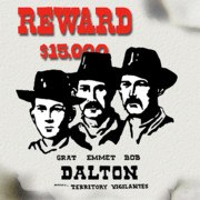 Dalton Gang  Modernized Wanted Poster Print by Jon Blumenaus