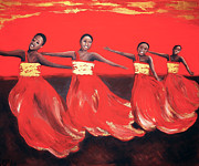 Dancing Women Print by Helene Fallstrom