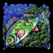Largemouth Bass Mixed Media -  Dear Lord  Please Let Me Catch a Fish by OLena Art