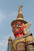 Background Sculpture Prints -  Demon Guardian Statues at Wat Phra Kaew Print by Panyanon Hankhampa