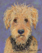 Pastel Dog Paintings -  Dj by Pat Saunders-White