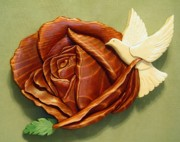 Intarsia Sculpture Framed Prints -  Dove on a Rose Framed Print by Russell Ellingsworth