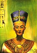 Khatuna Buzzell Metal Prints -  Egyptian queen Nefertiti. Metal Print by Khatuna Buzzell