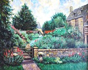 Red White And Blue Drawings -   English Country Home 1 by    Armand  Storace
